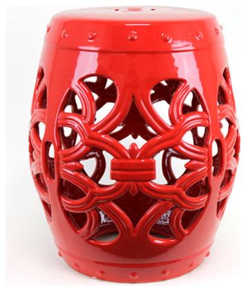 Red Ceramic Garden Stool contemporary-outdoor-decor
