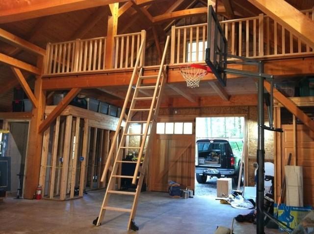 Vertical grain fir rolling ladder and loft rail system Garage loft stairs