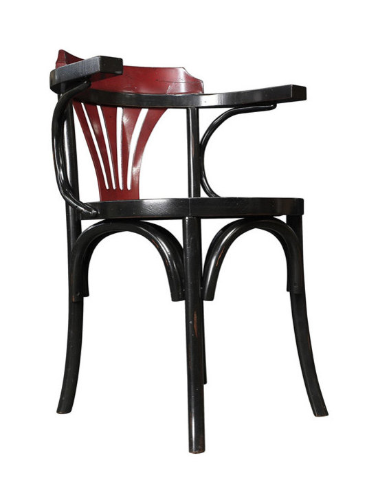 "Inviting Home - Black and Red Navy Chair - This chair was never surpassed in versatility. It�ll survive a students dorm room. It�ll faithfully and decorously serve as dining chair...; 21-3/4 x 23-1/2 x 31""H Navy chairs shape goes back a hundred years; its mystique is that of early 1900�s offices and bureau dՎtat� The still hand made precursor of the wheeled steel contraption known from movies inspired by the 1930s NYPD. Never surpassed in versatility. This chair will survive a students dorm room it will faithfully and decorously serve as dining chair. Navy chair will fill a corner and captivate the connoisseur or true heritage."
