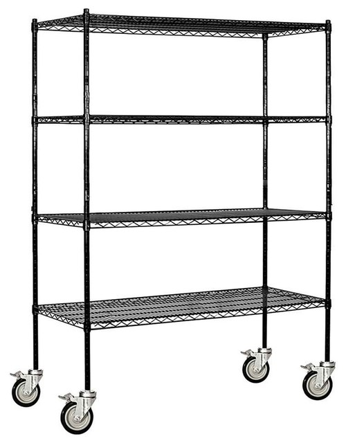 Adjustable Mobile Wire Shelving in Black Contemporary