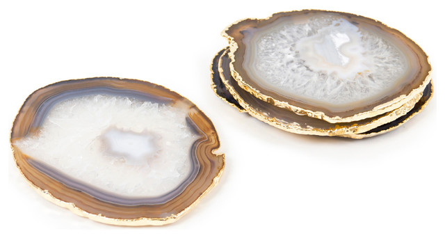 Natural and Gold Agate Coasters traditional-coasters