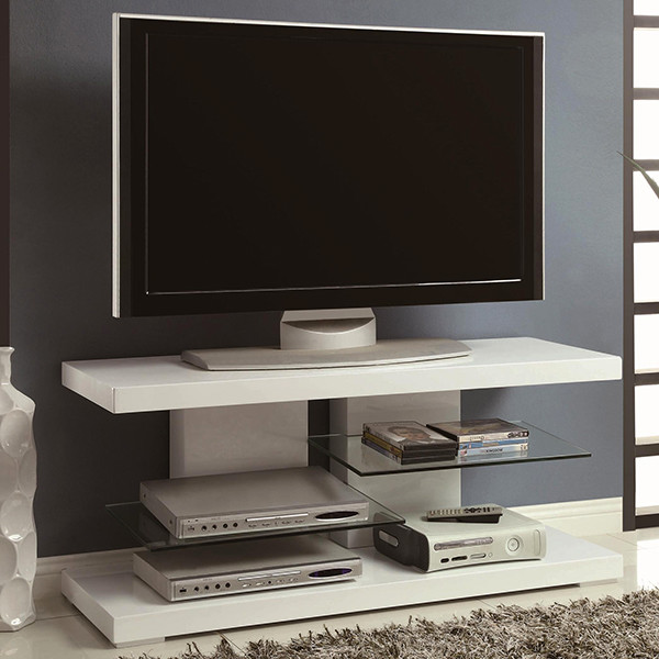Contemporary Tv Stand In High Gloss White Modern