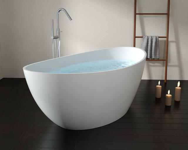 Badeloft upc certified stone resin freestanding for Oval tub sizes