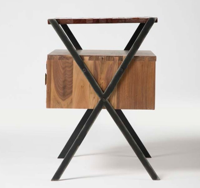 Zoe Mixed Wood Side Table Rustic Nightstands And