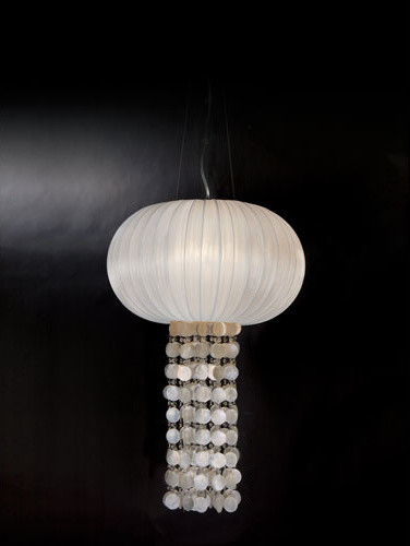 Montego Brushed Nickel One-Light Pendant with Sheer Pearl Ribbon Shade contemporary-pendant-lighting