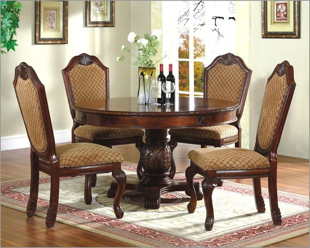 dining room set with round table in classic cher traditional dining