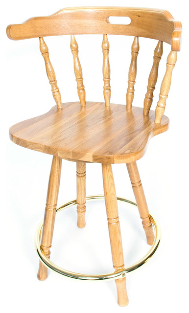 Solid Medium Oak Back Swivel 24-inch Barstool