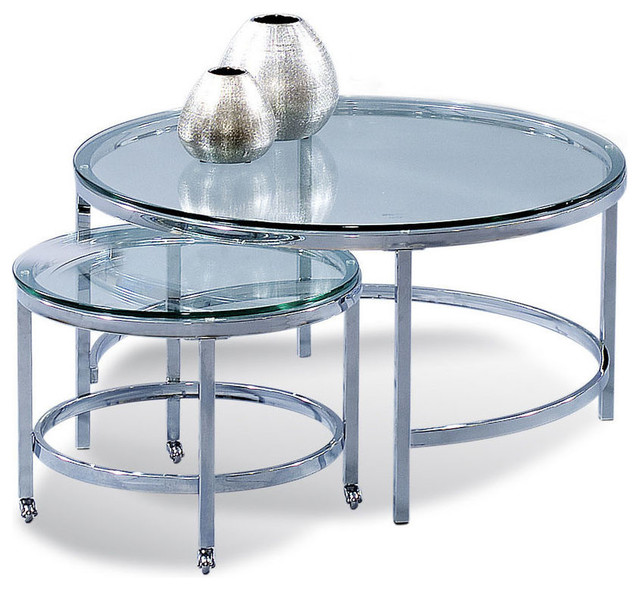 Bassett mirror t1792 120c patinoire round cocktailw for Modern nesting coffee tables
