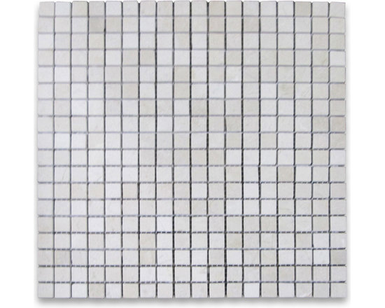 "Stone Center Corp - Spanish Crema Marfil Marble Square Mosaic Tile 5/8x5/8 Polished - Crema Marfil Marble 5/8x5/8"" square pieces mounted on 12x12"" sturdy mesh tile sheet"