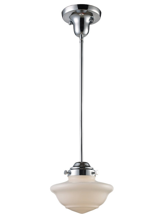 Schoolhouse Chrome Mini Pendant with Opal White Blown Glass Shade Vintage Style - This pendant features the style and quality craftsmanship of a handsome vintage piece. A glistening polished chrome finish is the perfect complement to the shapely opal white blown glass schoolhouse shade. A beautiful fixture with the light on or off, and a smart addition to your home from Landmark Lighting.