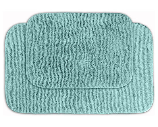 Sands Rug - Cheltenham Sea Foam Washable Bath Rug (Set of 2) - Add a layer of plush comfort and safety with the inviting Cheltenham bath and spa rug collection. Each piece, whether a bath runner, bath mat or contoured rug, is created from soft, durable, machine-washable nylon. Each floor piece is backed with skid-resistant latex for safety.