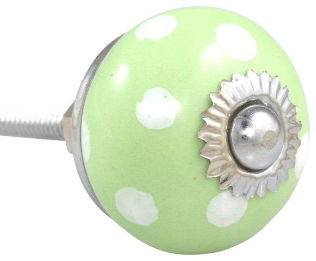 SET OF 2 Ceramic Polka Dot Knobs - White on Green, Small - Farmhouse - Cabinet And Drawer Knobs ...