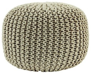 Knitted Pouffe in Taupe contemporary-footstools-and-ottomans