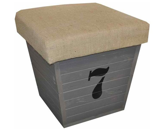 Storage box - Storage box made of pine, which has been painted gray with the number 7 on its side.