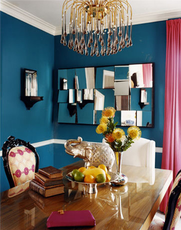 Peacock blue dining room contemporary