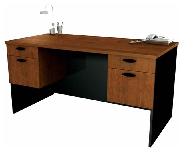 office computer desk in tuscany brown and black transitional desks and