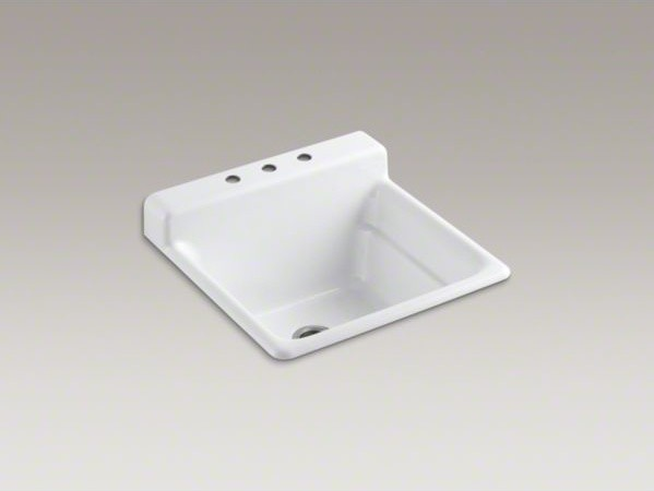 KOHLER Bayview(TM) top-mount utility sink with 3 faucet holes on top ...