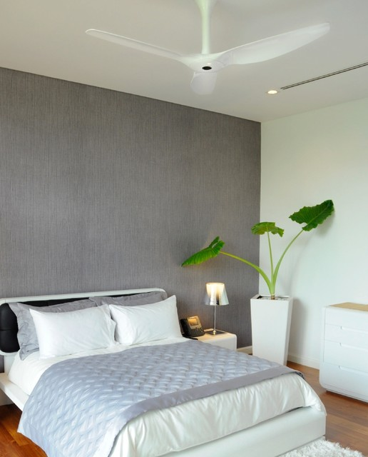 Haiku White Ceiling Fan in the Bedroom Contemporary