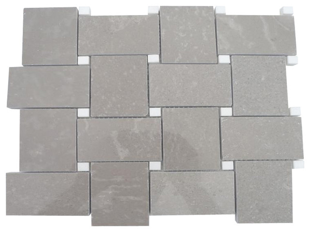 Arbor Lady Gray With Crystal White Dot Marble Tile modern-tile