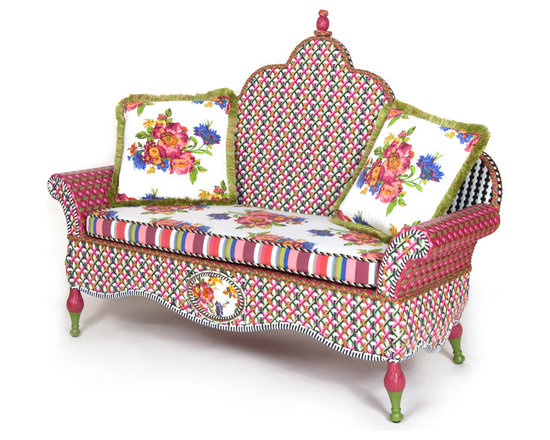 Flower Market Outdoor Loveseat | MacKenzie-Childs - Our Flower Market Outdoor Furniture Collection blooms where planted. We've captured the colors of summer in Aurora—pink, fuchsia, green, orange, red and blue—with this collection. Fancy, fun, and just a touch eccentric, with inset Flower Market enamelware panels and black and white accents, front and back. Sturdy, easy care, and made to withstand the elements. Hand-woven resin wicker, powder-coated metal accents, solid iron frame. Loveseat is double-woven for durability. Includes two Flower Market Outdoor Throw Pillows.