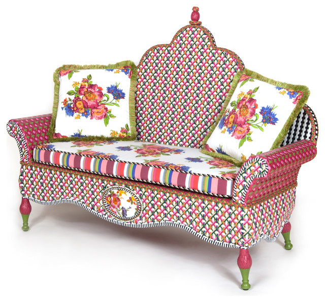 Flower Market Outdoor Loveseat | MacKenzie-Childs eclectic-outdoor-sofas
