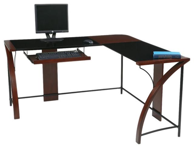 home office glass top corner desk wiith l shape