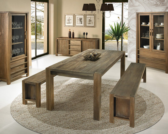 "LINEAR dining and living - Linear - dining tables 47"", 74"" and 94"" long; matching benches; buffet; 1- and 2-door cupboards"