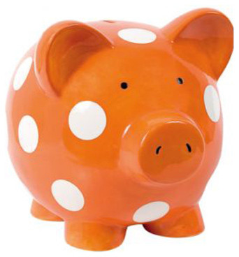 Elegant Baby Ceramic Polka Dot Piggy Bank eclectic nursery decor