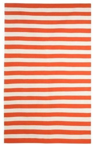 Dwellstudio Draper Stripe Persimmon/Cream Rug modern-rugs