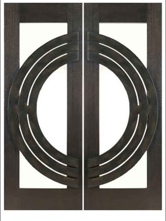 """AAW Inc. - Contemporary Entry Door Model NW-1639 - Model NW-1639 from our New World Collection. Door is solid Mahogany, 2-1/4"""" thick with decorative iron work on the outside. Available with Clear or Matte Glass."""