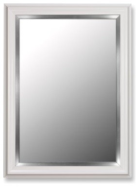 Glossy White Petite and Stainless Wall Mirror modern-bathroom-mirrors
