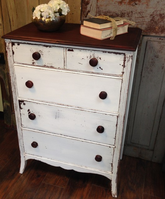 Vintage Dresser Chest Of Drawers White Tall Dresser