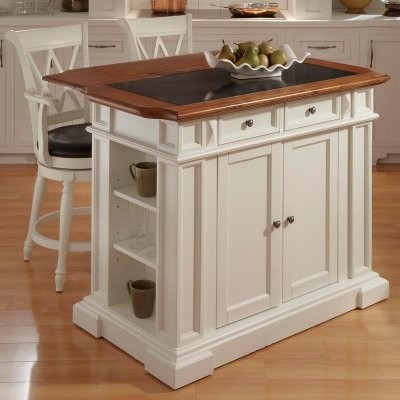 Home Styles Large Kitchen Island Set with 2 Stools - White & Oak