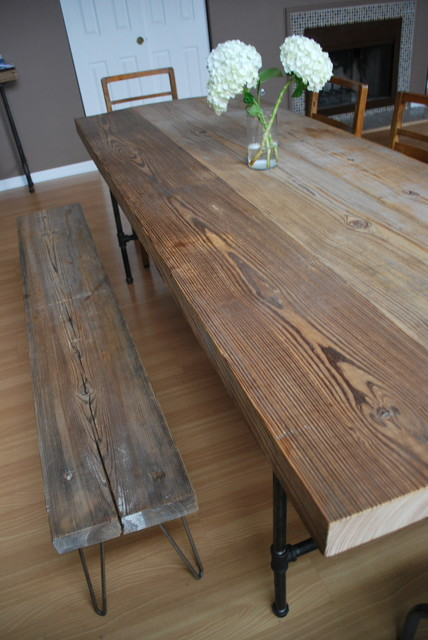 Reclaimed Wood And Steel Pipe Leg Table And Hairpin Leg
