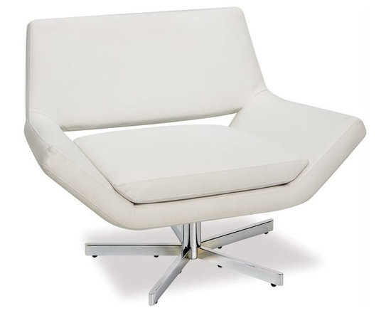Ave Six Yield 41 Inch Wide Swivel Chair in White - The Yield collection features sleek, contemporary styling to enhance the decor of any home or office. This swivel chair has a distinct low profile design that will appease those who seek a high level of style and comfort.