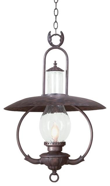 Traditional Outdoor Pendant Lighting : La grange quot high outdoor hanging lantern fixture