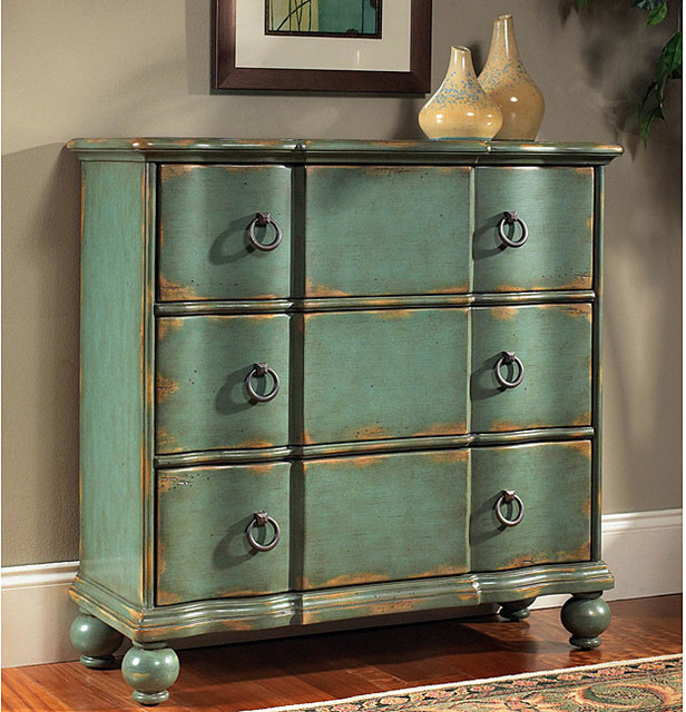 hand painted distressed blue green accent chest