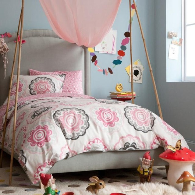 Dwellstudio Zinnia Rose Duvet Set Modern Kids Bedding
