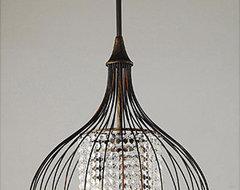 Copper/Crystal Pendant Chandelier eclectic-chandeliers