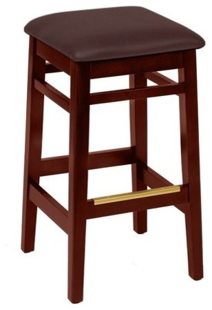 Trevor Cherry Finish Wood Barstool with Dark Brown Vinyl Seat (Set of 2) by BFM contemporary-bar-stools-and-counter-stools