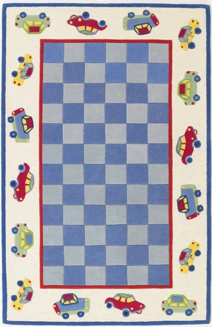 "Kids Kidding Around 5'x7'6"" Rectangle Blue Area Rug contemporary-kids-rugs"