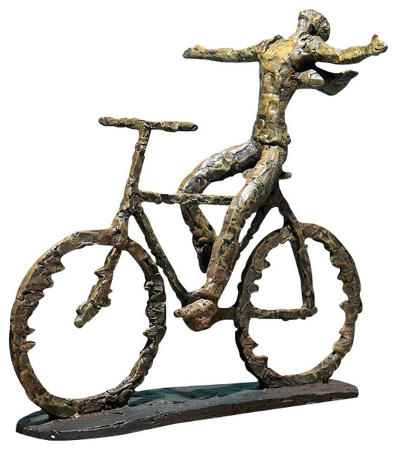 Bicycle rider sculpture tabletop decor transitional for Bicycle decorations home