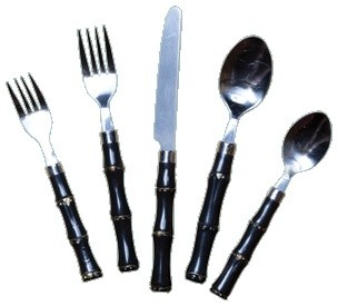 Black Bamboo Flatware asian-flatware-and-silverware-sets