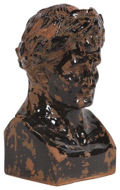 Rustic Ceramic Glazed Ancient Roman Male Bust contemporary-garden-sculptures