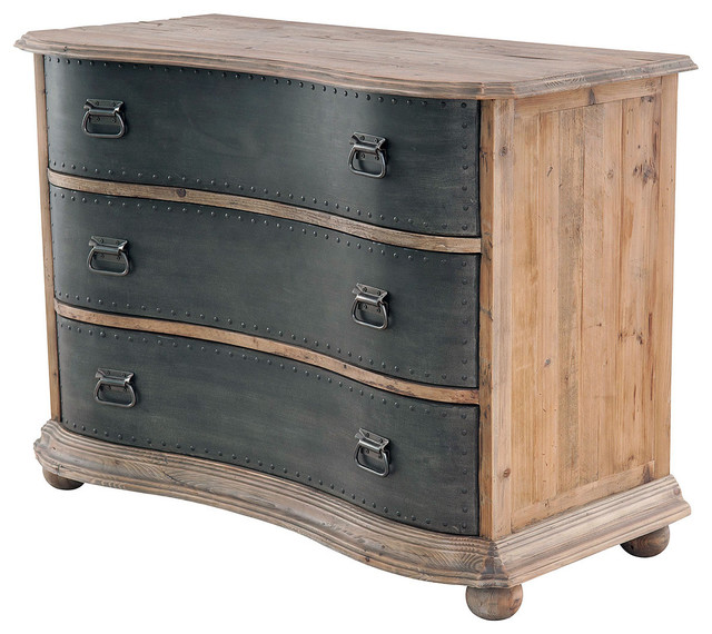 Bowfront 3 Drawer Chest with Metal Drawers - Traditional - Closet Storage - austin - by Zin Home