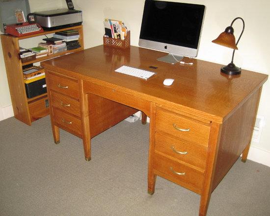 Desk, refinishing, red oak - Mimy Designs