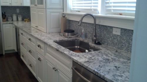 White Ice Granite White Cabinets Backsplash Ideas on white granite kitchen, white kitchen counter material, white kitchen counter bar,