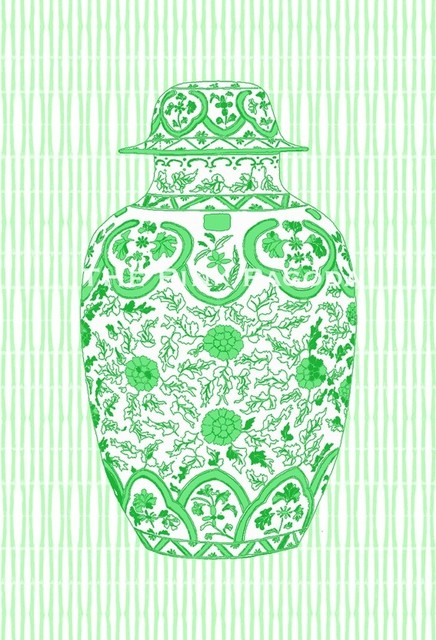 Ming Chinoiserie Ginger Jar, Green by The Pink Pagoda asian-artwork