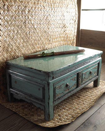 Teal side cabinet with two drawers traditional coffee for Teal coffee table