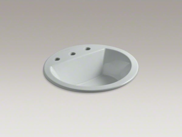 "KOHLER Bryant(R) round drop-in bathroom sink with 8"" widespread faucet holes contemporary-bathroom-sinks"